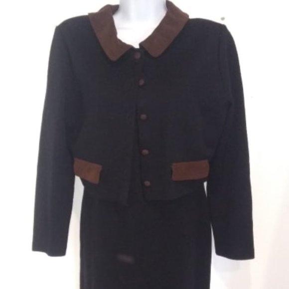 Nina Charles Vintage Dress Faux Skirt Jacket Set M